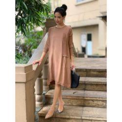 Baju Knit Dress Pendek Lengan Panjang Terbaru