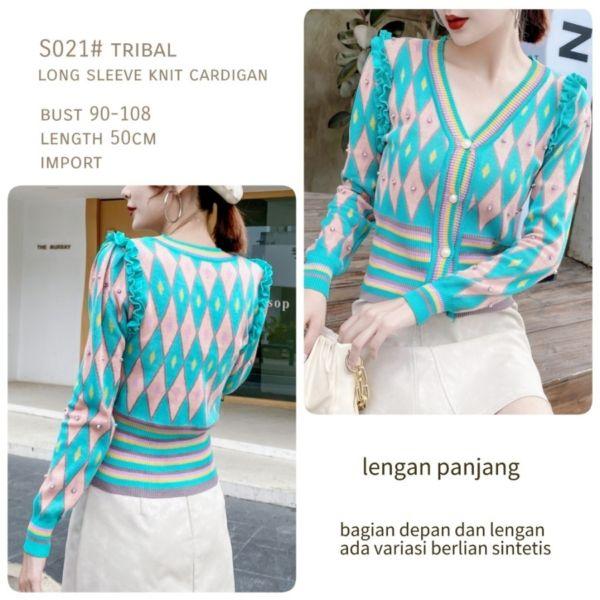 Baju Outer Cardigan Knit Rajut Tribal Kualitas Import