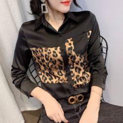 Kemeja Wanita Trend Masa Kini Kombinasi Leopard