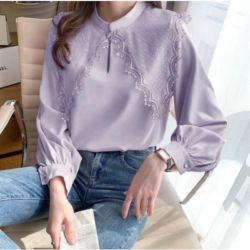 Model Baju Atasan Lengan Panjang Kombinasi Lace