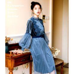 Model Baju Long Dress Velvet Tile Kekinian