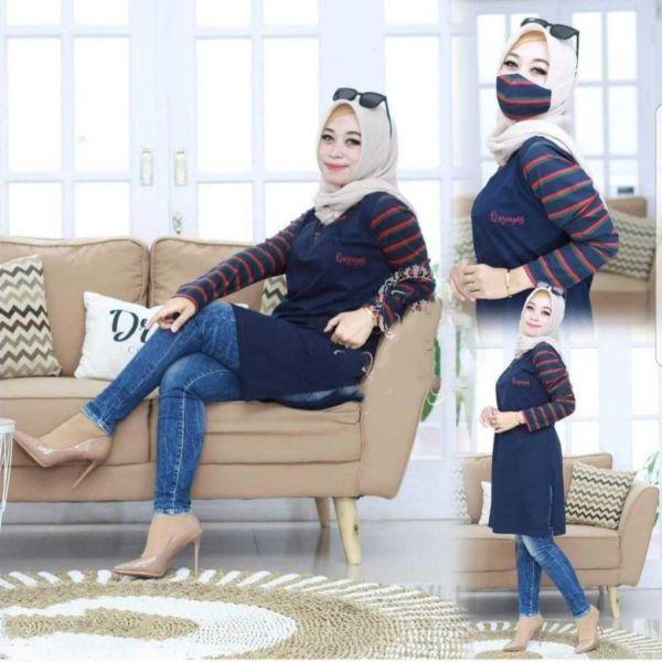 Model Baju Tunik Kombinasi Motif Garis