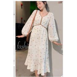 Model Dress Warna Putih Motif Bunga Terbaru