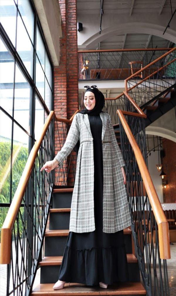 Model Setelan Baju Gamis Cardigan Terbaru