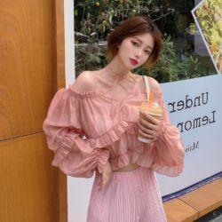 Oriana Off Shoulder Crop Top Blouse Korea Modis