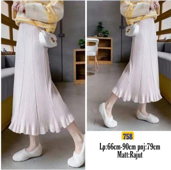 Rok Skirt Ruffle Rajut Knit Model Terbaru