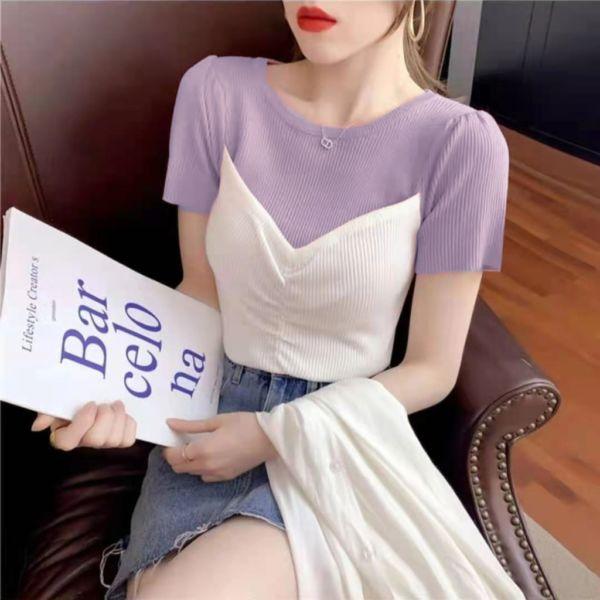 Baju Atasan Wanita Arleen Knit Top Lengan Pendek