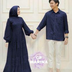 Baju Couple Long Dress Tile Kekinian & Kemeja Panjang