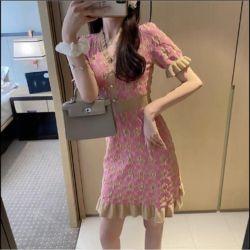Baju Dress Cantik Warna Pink Rajut Gaya Korea