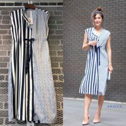 Baju Dress Katun Salur Kombinasi Warna Cantik