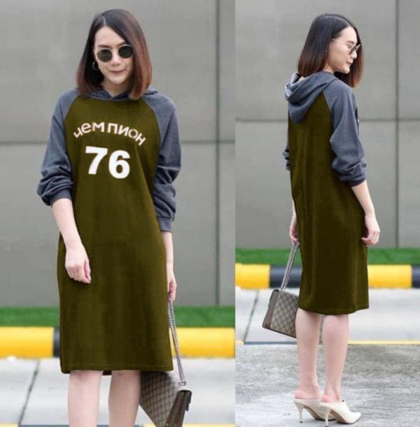 Baju Dress Pendek Hoodie Kombinasi Warna Cantik