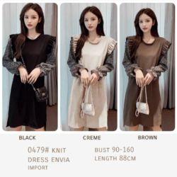 Baju Korean Knit Dress Cantik Model Terbaru
