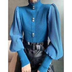 Baju Lengan Puff Panjang Kombinasi Prisket Cantik