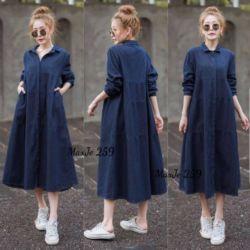 Baju Maxy Midi Dress Jeans Washed Model Terbaru