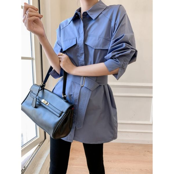 Baju Midi Dress Coat Cantik Modern Free Belt