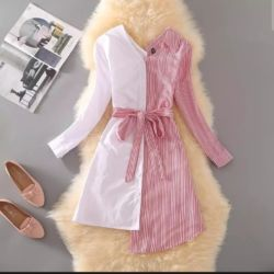 Baju Mini Dress Lengan Panjang Kombinasi Warna