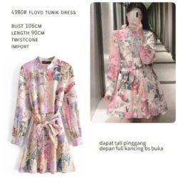 Baju Model Long Tunik Floyd Dress Motif Cantik