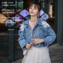 Jaket Jeans Wanita Kombinasi Bunga 3D Modern