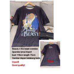 Kaos Oblong Wanita Beauty And The Beast Oversize