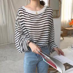 Model Baju Atasan Knit Top Salur Lengan Panjang