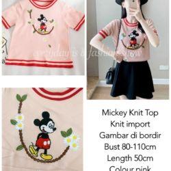 Model Baju Atasan Mickey Lengan Pendek Knit