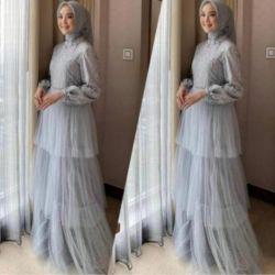 Model Baju Gamis Kombinasi Brukat dan Tile Terbaru