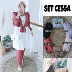 Model Baju Setelan Cardigan Celana 3in1 Terbaru