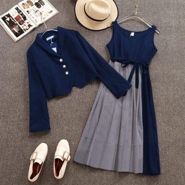 Model Baju Setelan Midi Dress & Cardigan Penyanyi