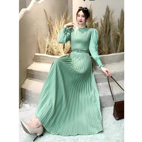 Model Gamis Plisket Long Dress Kekinian Terbaru