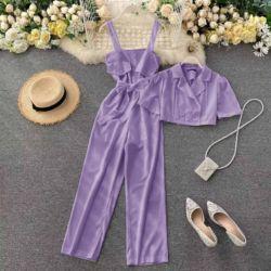 Setelan Baju Jumpsuit dan Crop Cardigan Modern