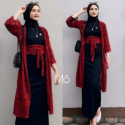 Setelan Baju Maxy dan Outer Brukat Wanita Berhijab