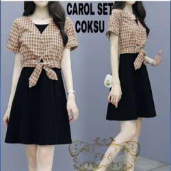 Setelan Inner Mini Dress dan Cardigan Crop Kotak