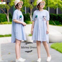 Baju Dress Pendek Katun Gambar Mickey Mouse