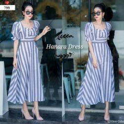 Baju Hanara Dress Cantik Seksi Motif Salur Belang
