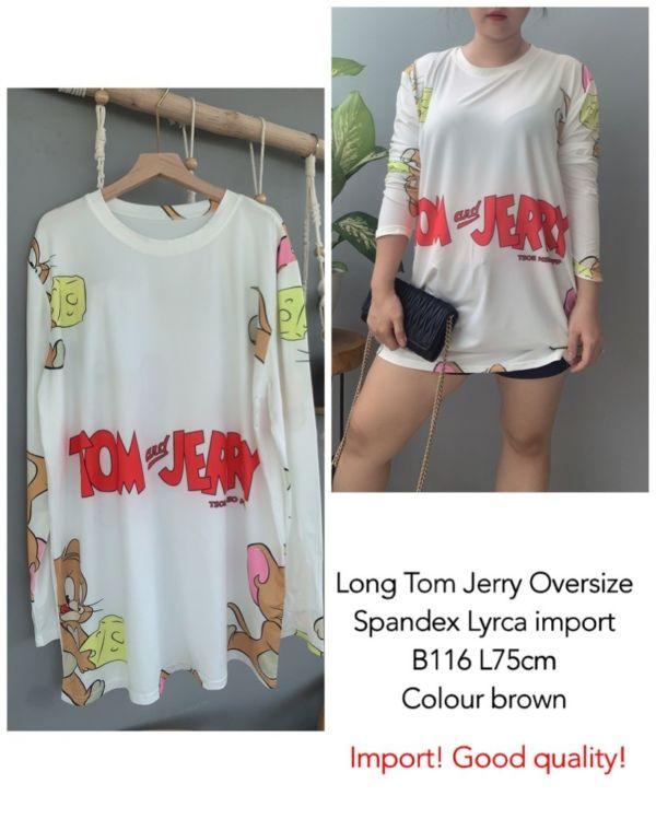 Baju Kaos Oversize Panjang Gambar Tom Jerry