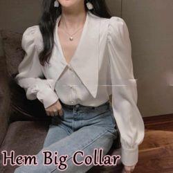Baju Kemeja Wanita Hem Big Collar Modern