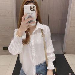 Baju Kemeja Wanita Hem Tangan Kerut Puff