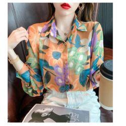 Baju Kemeja Wanita Panjang Motif Bunga Import