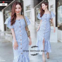 Baju Maxy Long Dress Kancing Depan Motif Salur