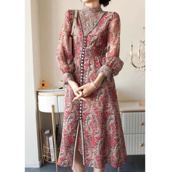 Baju Midi Dress Motif Variasi Bordir Cantik Modern