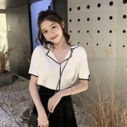 Blouse Sevilla Knit Korean Top Lengan Pendek