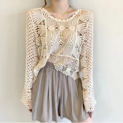 Crochet Crop Top Transparan Model Terbaru
