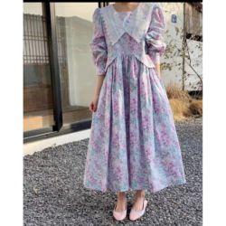 Long Dress Babydoll Motif Floral Gaya Korea