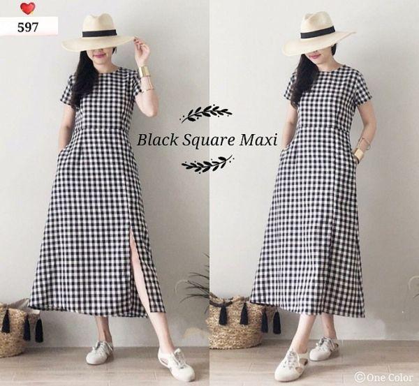Maxy Long Dress Motif Kotak Model Terbaru