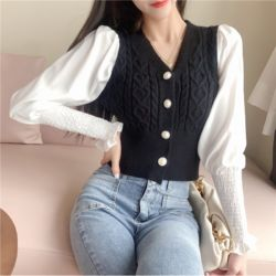 Model Baju Crop Top Knit Rajut Terbaru Remaja