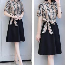 Model Baju Dress Pendek Kombinasi Motif Burberry